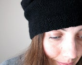 RESERVED, Slouchy super soft black cashmere hat