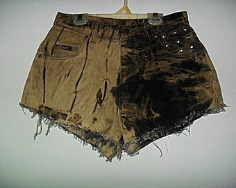 Destroyed Marbled Molted and Studded High Waist Shorts VINTAGE