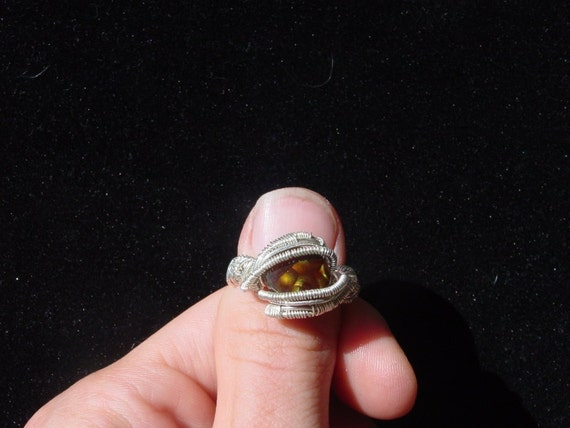 Sterling Silver Fire Agate Ring Size 7