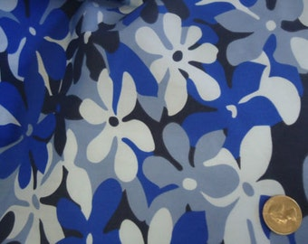 Cotton Poly Tropical Blue Flowers Pillow Cases Sheets 60'' 1 Yard