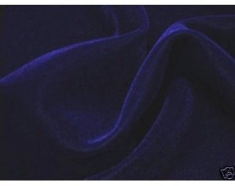 "Navy Blue Velvet Fabric 45"" By the Yard 1 Yard"