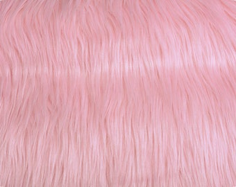 Mongolian Faux Fur Fabric Pink 1 Yard