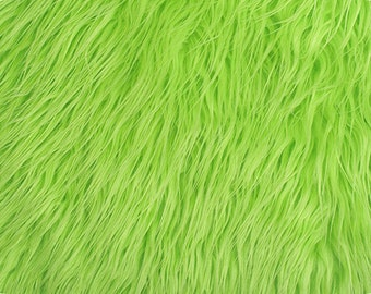Mongolian Faux Fur Fabric Lime 1 Yard