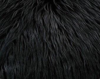 Mongolian Faux Fur Fabric Black 1 Yard