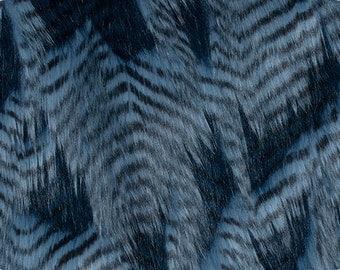 Fancy Feather Faux / Fake Fur Fabric Denim Blue 1 Yard