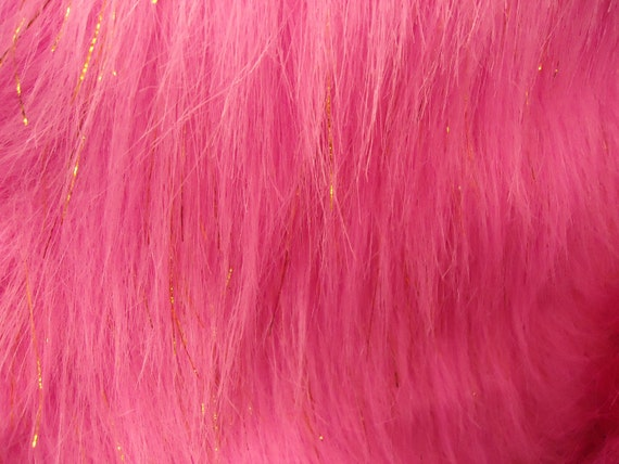 Faux fake fur sparkling tinsel pink fabric by the yard