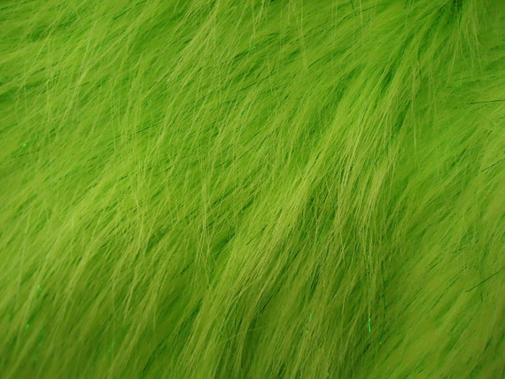 Faux fake fur sparkling tinsel green fabric by the yard