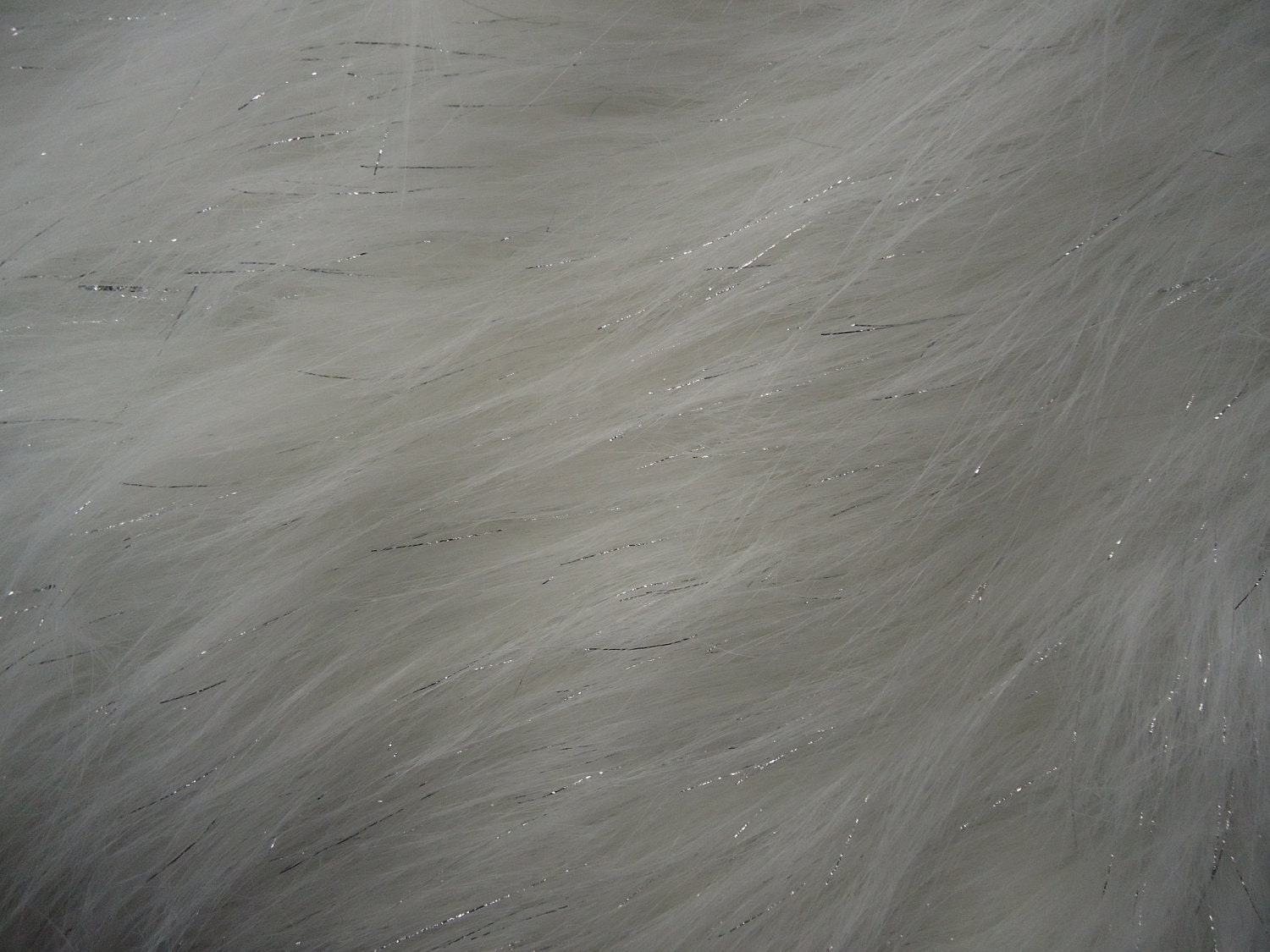 Faux fake fur sparkling tinsel white fabric by the yard