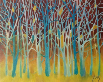 "Original Painting, Oil On Canvas ""Cyan Winter Trees"" by Michael Broad"