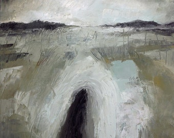 """Original Painting, Oil On Canvas """"Storm Over Moors"""" by Michael Broad"""