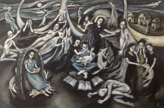 """Original Large Art Painting On Canvas """"Goose Boy With Muses"""" by Michael Broad"""