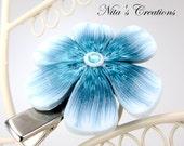 White & Teal Dreams Flower Hair Clip