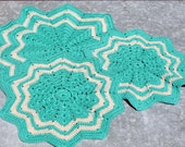 set of 3 teal & cream granny chic doilies