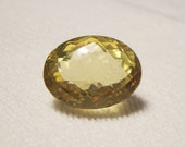 Lemon Quartz, Oval, Checkerboard top, 27 x 21 mm