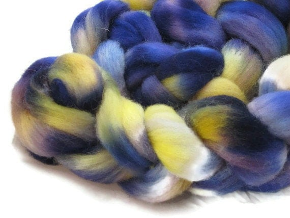 Hand Dyed Roving, Purple and Yellow - Johnny Jumps Up