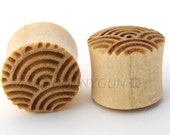 "1/2"" Japanese Waves Branded Javanese Coffeewood Plugs Organic Body Piercing Jewelry Gauge"