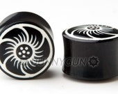 "1"" Pair Black Polynesian Flower Horn Gauged Plugs Organic Hand Carved Body Piercing Jewelry"