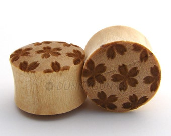 "3/4"" Pair Cherry Blossom Branded Javanese Coffeewood Plugs Organic Body Piercing Jewelry Gauge"