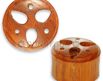 "3/4"" Pair Japanese Trinity Crest Wood Plugs Organic Hand Carved Body Piercing Jewelry"