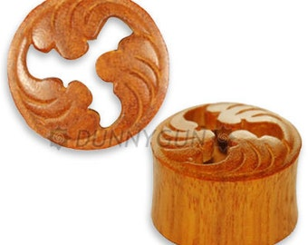 """5/8"""" Pair Japanese Wave Crest Wood Plugs Organic Hand Carved Body Piercing Jewelry gauge"""