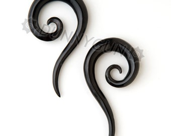 2G Pair Horn Tail Spirals Gauged Plugs Hand Carved Organic Body Piercing Jewelry Earrings 2 gauge