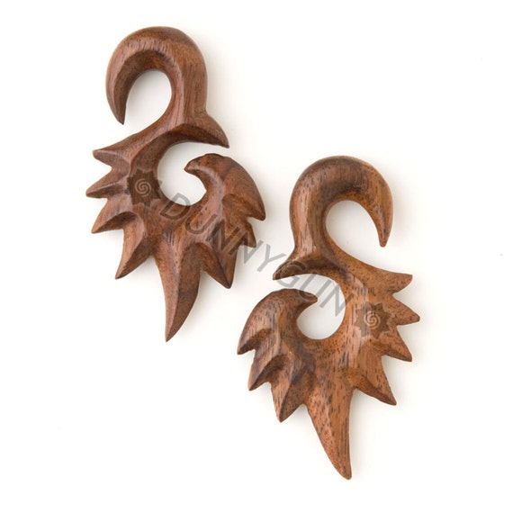 0G Pair Tiger Rosewood Spiked Swans -Organic Hand Carved Body Piercing Jewelry 0 Gauge Wood Plugs Earrings