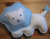 Felt Lion - Great for Baby's Nursery - baby blue, light pink, tan, mint green, orange and yellow