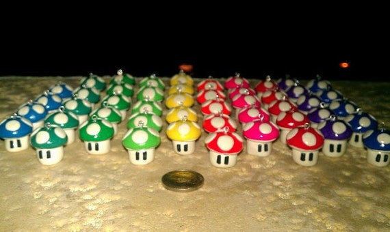 Mario 1up Mushroom charm, they GLOW in the dark too. many COLORS ornaments