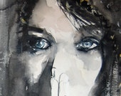 Dark Woman with Blue Eyes Watercolor Painting Print - Hosea Series
