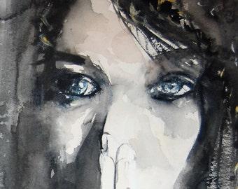 Dark Woman with Blue Eyes Watercolor Painting Print - Hosea Series
