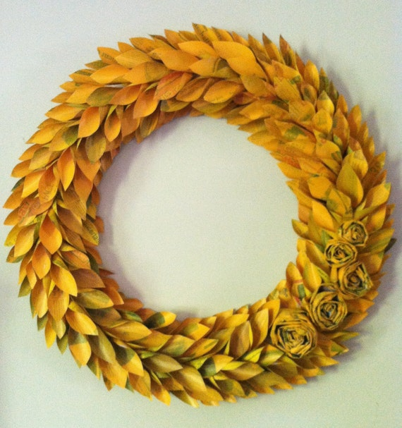 CUSTOM LISTING for NGVODAS - yellow spring wreath large 22 inch newspaper rosette and leaf
