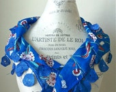Electric Blue Belgium Lace Scarf-Traditional Turkish Tulip Design-Persian Blue-Valentine Gift-Shipping from US