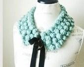 Crocheted Bubbles Collar-Vintage OOAK-Velvet Ribbon-Turquoise Blue Green Scarf-Gift under 30 50