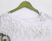 White Bridal Chunky Lace Scarf Versatile Lariat Headband Bandana Necklace Cowl Belt