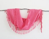 Coral Pink Cotton Lace Scarf Lively Stylish