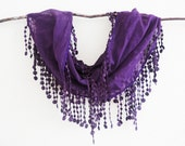 Violet Orchid Sheer Cotton Lace Scarf Bright Summer Fashion Lariat Chunky
