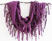 Palatinate Purple Pashmina Lace Scarf