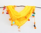 Bright Yellow Cotton Woman Scarf with Ponpon Lace Versatile Cowl Headband Bandana Belt Yellow Mellow