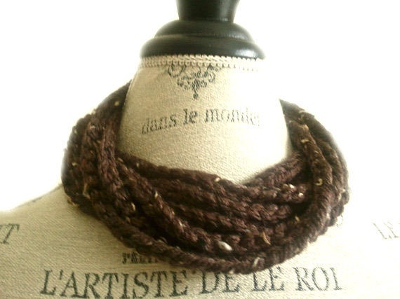 Crochet Neck warmer Brown with Ivory Flakes Scarf
