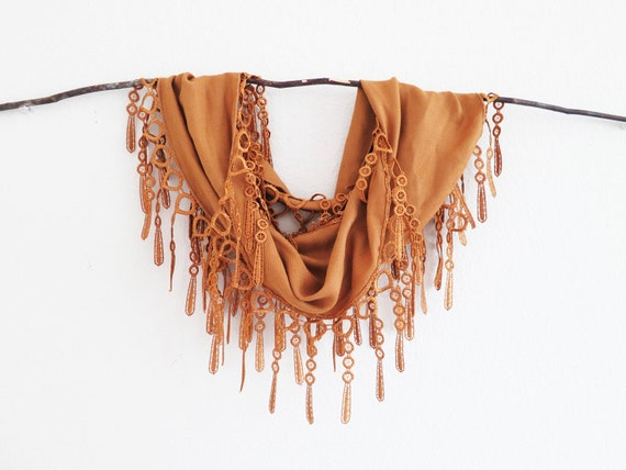 Lace Scarf Caramel Rustic Copper 2013 Fall Winter Trendy Color