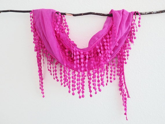 Fuchsia Pink Lace Scarf Headband Lariat Cowl Necklace Bandana Belt