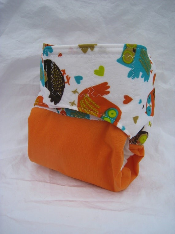 Retro Owl and Orange Reusable One Size Cloth Pocket Velcro Diaper