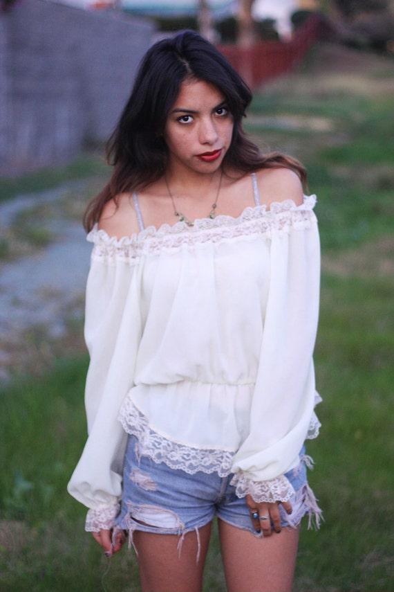 Vintage sheer creme off shoulder blouse