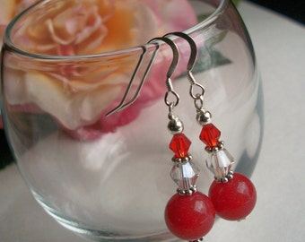 Red Jade, Crystal and Sterling Silver Earrings