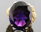 Vintage Amethyst Ring - Gem Quality Amethyst in 18k Gold Setting