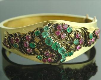 Antique Bracelet - Antique Victorian Jewelry - Bracelet, Gold, Rubies, Emeralds
