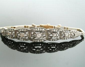 Antique Bracelet - Art Deco Diamond Bracelet-Antique 18k White Gold 2.00ct Total Weight Rose Cut Diamond Bracelet