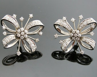 Antique Diamond Earrings - White Gold and Diamond Earrings