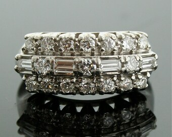 Vintage Ring - Vintage Band - Vintage Diamond Cluster Ring