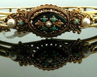 Vintage bracelet - Vintage Turquoise Pearl Black Onyx Bangle 14K